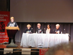 Photo by Brandon Jordan PSC leaders explained to members the union's future plans and its latest counter-offer to CUNY. From left to right: Treasurer Sharon Persinger, President Barbara Bowen, First Vice President Michael Fabricant, Secretary Nivedita Majumdar and Vice President of Cross Campus Units Iris DeLutro.