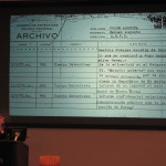 Photo by Brandon Jordan Kirsten Weld spoke about looking into the archive of the Guatemalan dictatorship. In the above photograph, Weld shows one document she discovered.