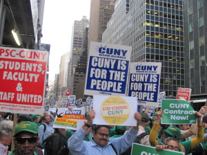 PHOTO BY BRANDON JORDAN The CUNY Rising Alliance included many organizations like the New York Public Interest Group, District Council 37 and Professional Staff Congress.