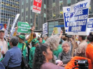 Photo by Brandon Jordan CUNY faculty and staff have demonstrated in rallies for a new contract, including the CUNY Rising event on March 10.