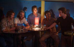 Still of Dale Douglas, Wyatt Russell, Glen Powell, Blake Jenner, Temple Baker and J. Quinton Johnson in Everybody Wants Some!! (2016)