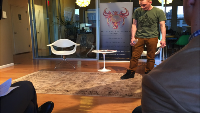 Photo by Edis Radoncic  Veterans, like Patrick Donahue above, shared their experience at a forum at the Intersections International office in Manhattan on April 15.