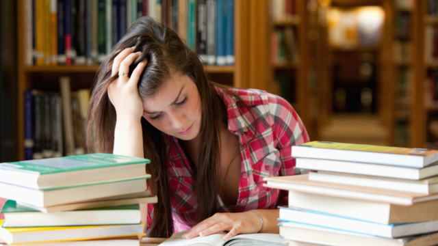 Credits: Stockphoto Caption: A stressed out student looking through piles of books.